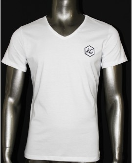 "T-Shirt Col V  ""Basic KC"" Blanc"