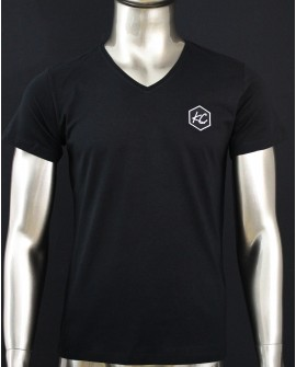 "T-Shirt Col V  ""Basic KC"" Noir"